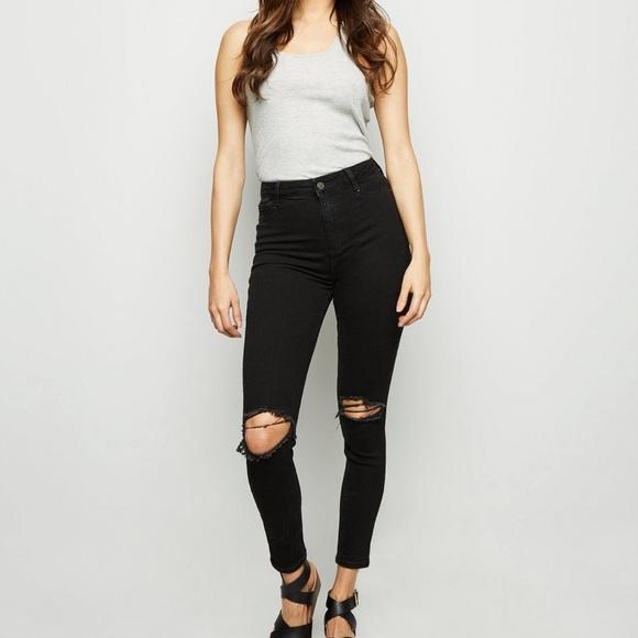 Black high rise denim jeans